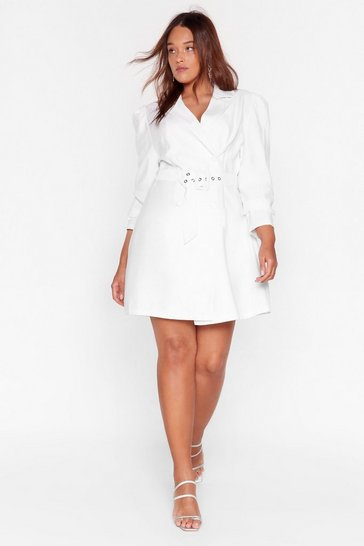 Grande Taille - Robe blazer ceinturée à manches bouffantes The boss of the boss, White