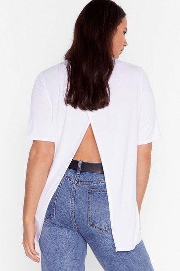 White Back It Up Slit Plus Tee