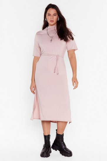 Rose Plus Size Belted Midi Dress with Slits