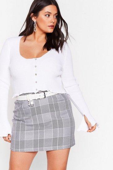 Black Grid You Miss Me Plus Check Skirt
