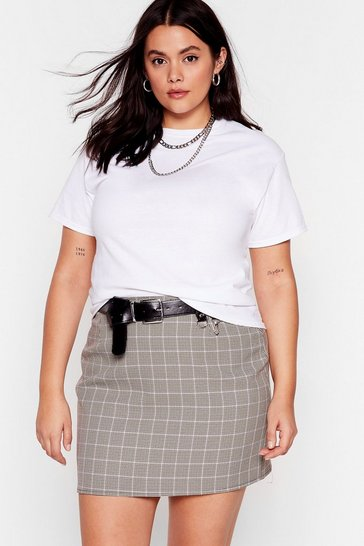 Brown Double Check Plus Mini Skirt