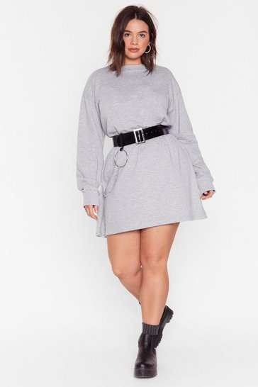Grey Marl Mini Sweatshirt Dress with Crew Line