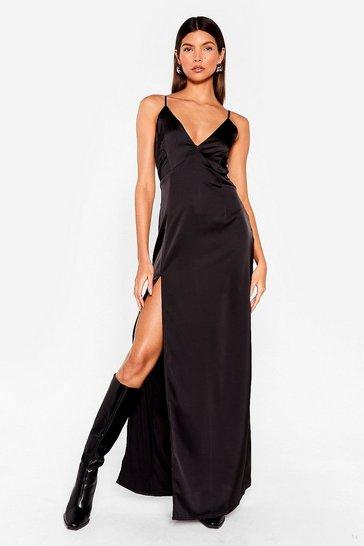 Black Look At You Satin Dress