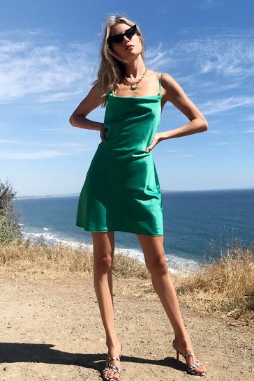 Bright green Sought After Cowl Satin Dress
