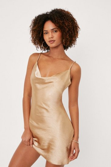 Champagne Cowl Neck Satin Mini Slip Dress