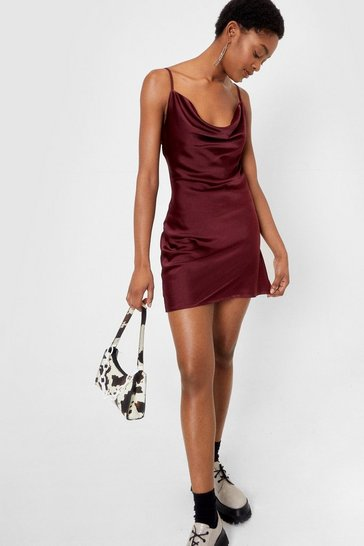 Chocolate Sought After Cowl Satin Dress