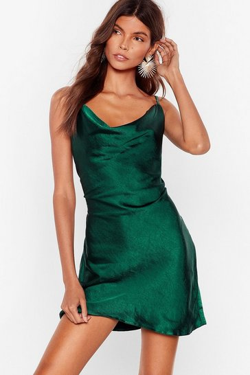 Dark green Sought After Cowl Satin Dress