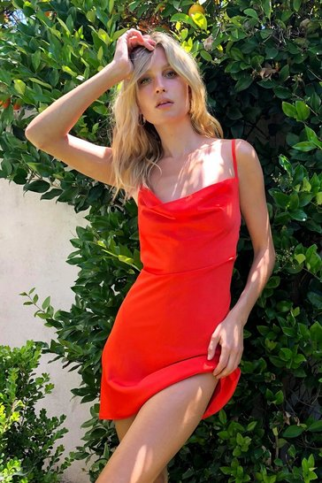 Orange Cowl Neck Satin Mini Slip Dress
