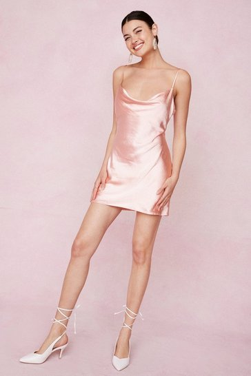 Peach Cowl Neck Satin Mini Slip Dress