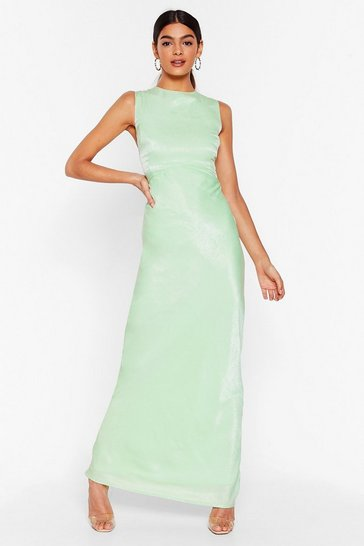 Mint If You Bust Satin Maxi Dress