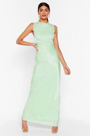 Mint If You Bust Satin Maxi Dress