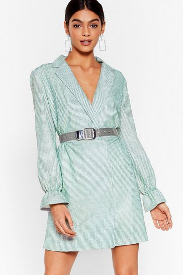 Mint We Don't Have Shine Metallic Blazer Dress