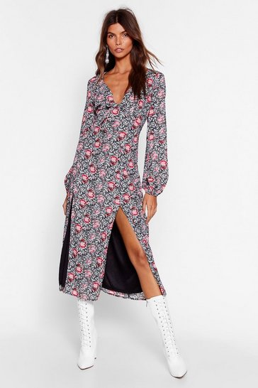 Black One-Slit Wonder Floral Mini Dress