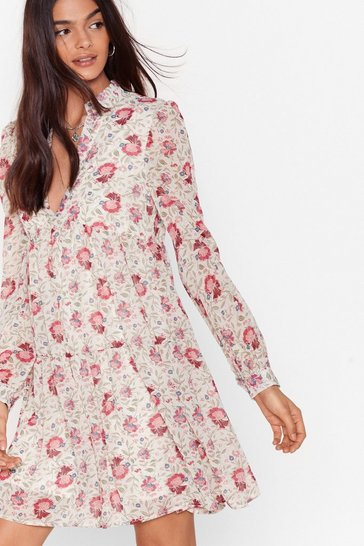 White Chiffon V Neck Floral Smock Dress