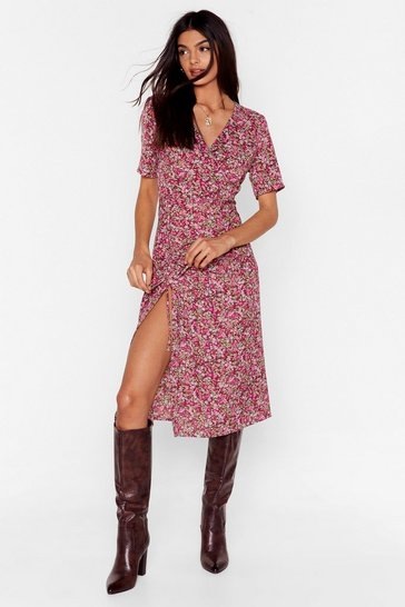 Brown Floral V Neck Slit Midi Dress