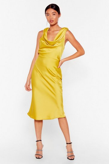 Lime Can We Dance Cowl Midi Dress
