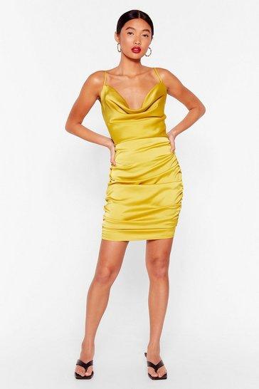 Lime Toxic Cowl Ruched Mini Dress