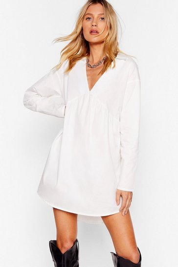 White Poplin Shirt Collar Mini Smock Dress