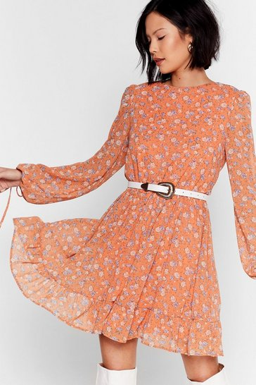 Peach You Swing Me Right Round Floral Mini Dress
