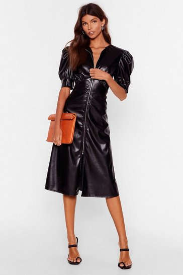 Black Let Zip Happen Faux Leather Midi Dress