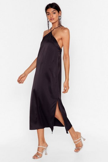 Black At Ease Satin Halter Midi Dress