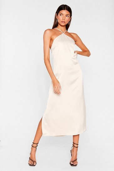 Off white Satin Side Split Hem Halter Midi Dress