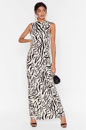 White  Mono Animal Underbust Seam Maxi Dress