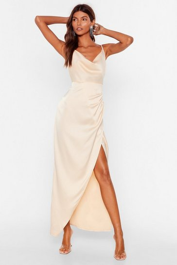 Champagne  Cowl Play Satin Midi Dress