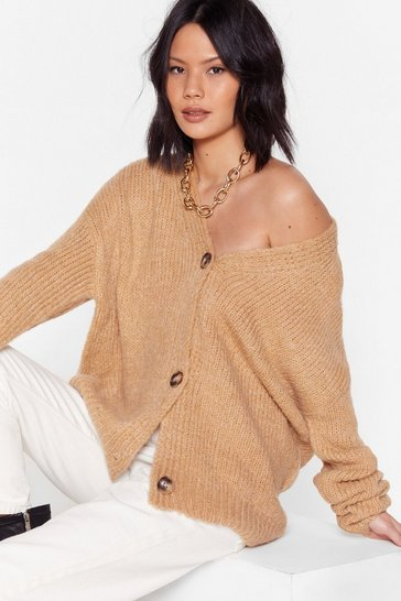 Camel Knitted Oversized V Neck Cardigan