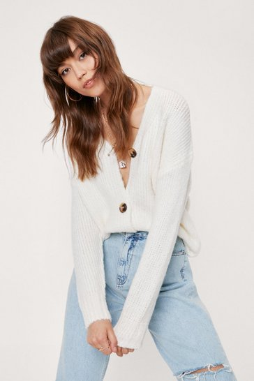 Cream Knitted Oversized V Neck Cardigan
