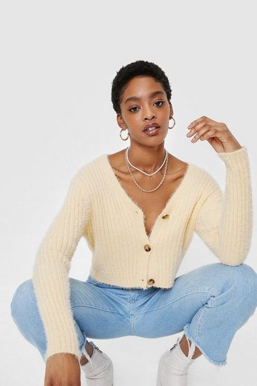 Lemon Fluffy Knit Button Down V Neck Cardigan