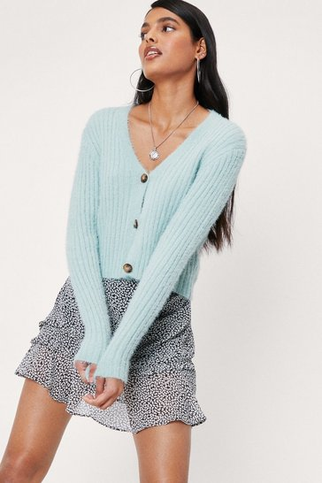 Mint Fluffy Knit Button Down V Neck Cardigan