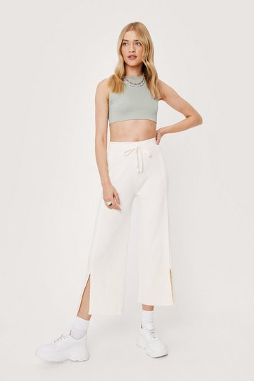Cream Ribbed Wide Leg Slit Knit Pants