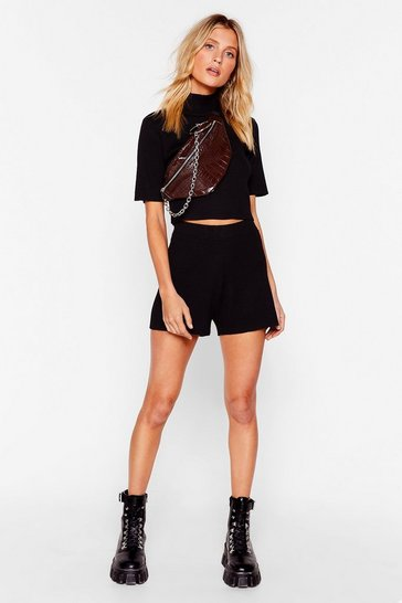 Black Keep Knit Quick High Neck Crop Top and Shorts Set