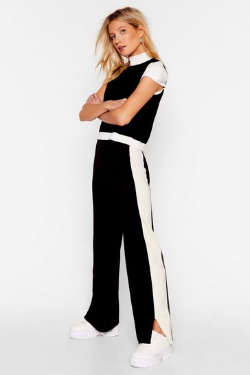 Black Block Together High Neck Top and Trousers Set