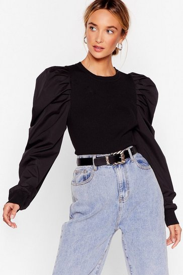 Big Be-sleever Puff Sleeve Sweater, Black