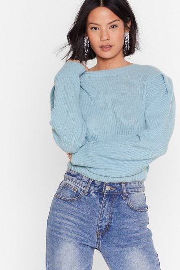 Blue Knit the Mark Relaxed Crew Neck Sweater