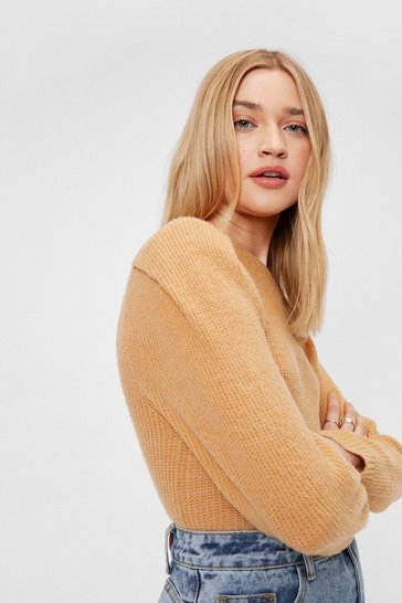 Stone Crew Neck Puff Sleeve Jumper