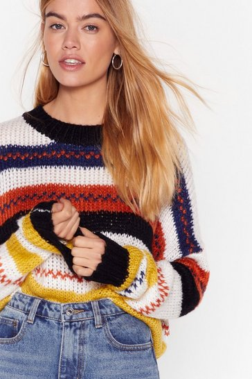 White On the Stripe Relaxed Knit Sweater