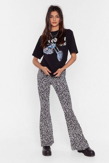Black You Gotta Great Flare Leopard Flare Trousers
