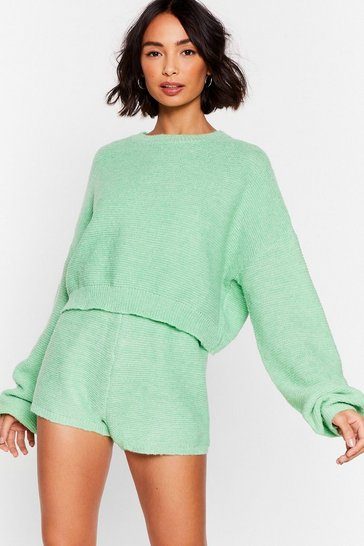 Ensemble de confort pull & short en maille Tranquille dans tes bras, Apple green