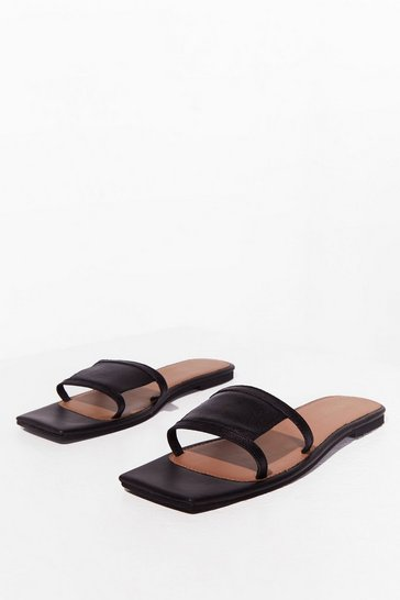 Black Real Leather Square Toe Mules