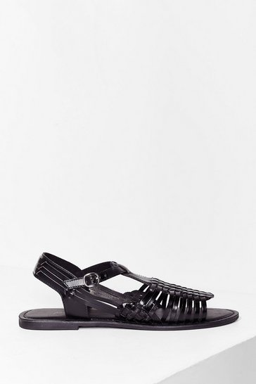 Strappy Together Leather Woven Sandals, Black
