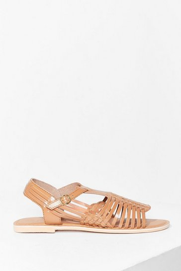 Camel Strappy Together Leather Woven Sandals