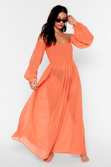 Orange Sheer At the Beach Cover-Up Maxi Dress