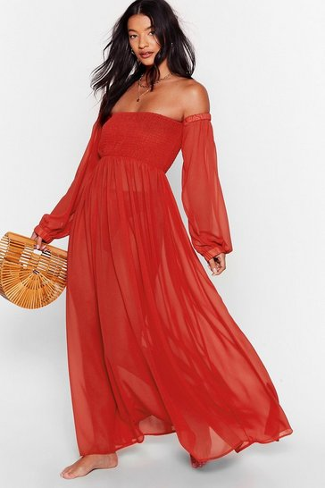 Red Sheer At the Beach Cover-Up Maxi Dress