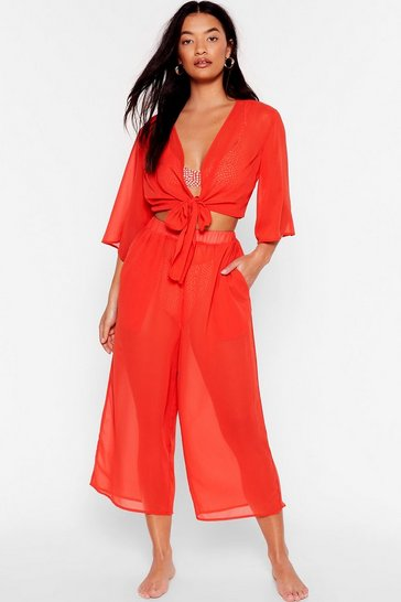 Red Wide on Time Chiffon Cover-Up Culottes