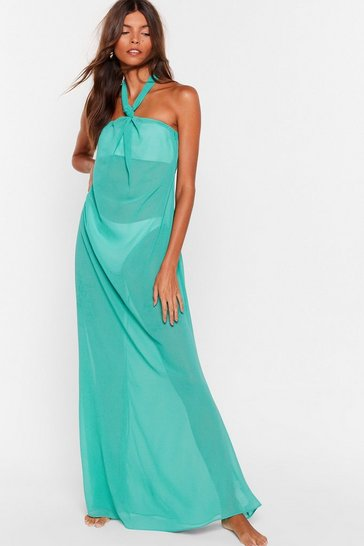 Green Shell We Dance Chiffon Cover-Up Dress