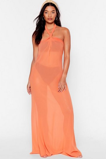 Orange Shell We Dance Chiffon Cover-Up Dress