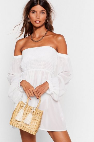 White Right Shirr Right Now Chiffon Cover-Up Dress